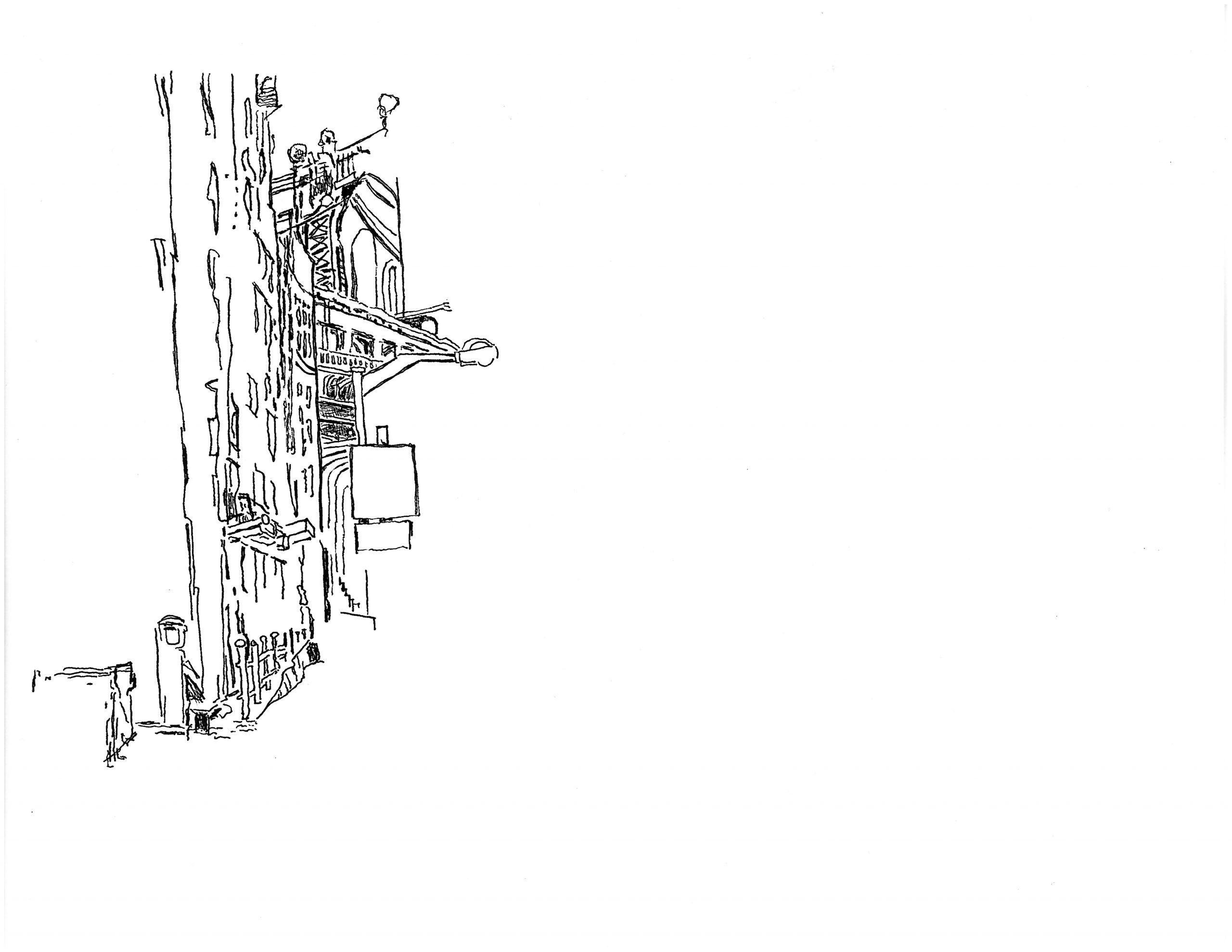 Drawing the Manhattan Bridge from Dumbo | 01.16.2021
