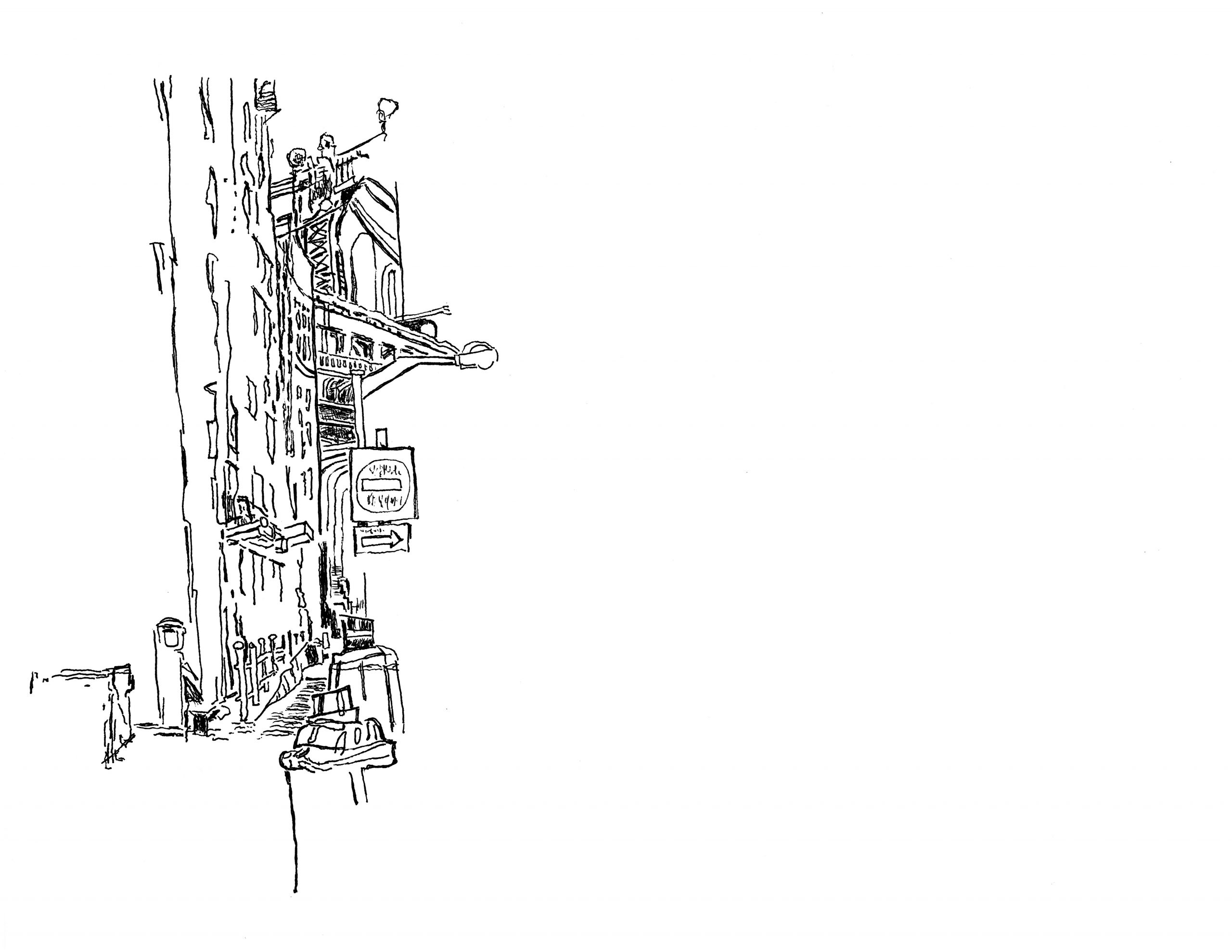 Drawing the Manhattan Bridge from Dumbo | 01.18.2021