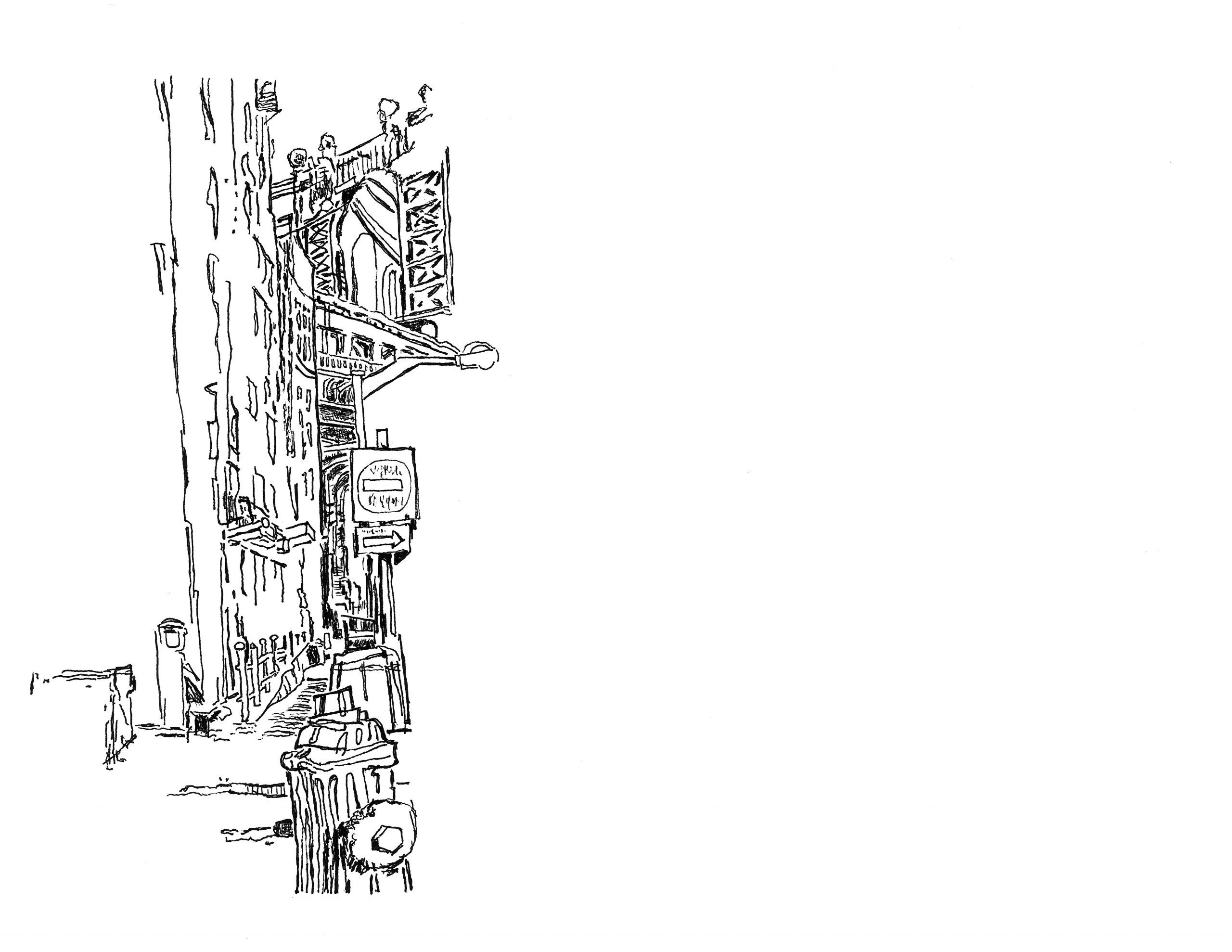 Drawing the Manhattan Bridge from Dumbo | 01.19.2021