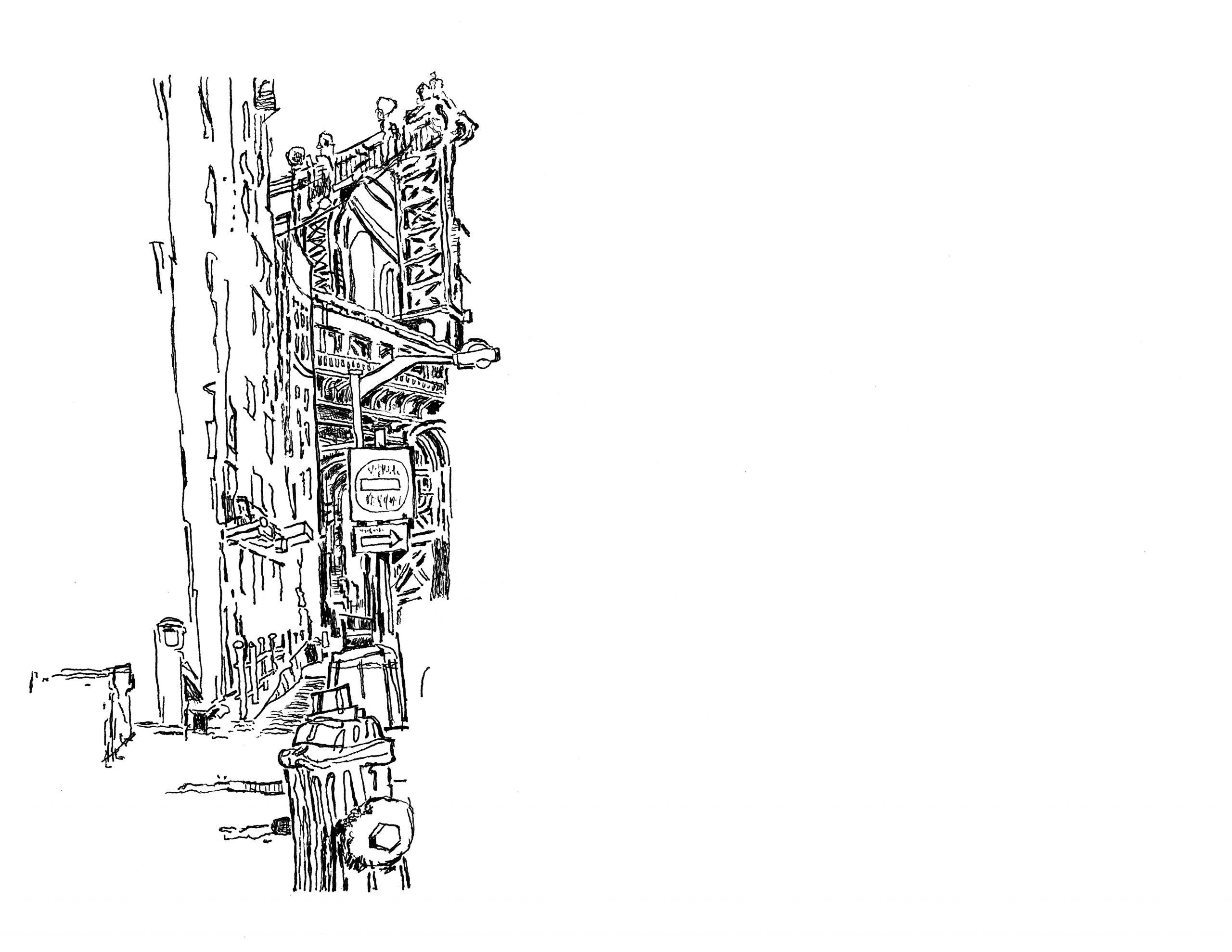 Drawing the Manhattan Bridge from Dumbo   01.20.2021