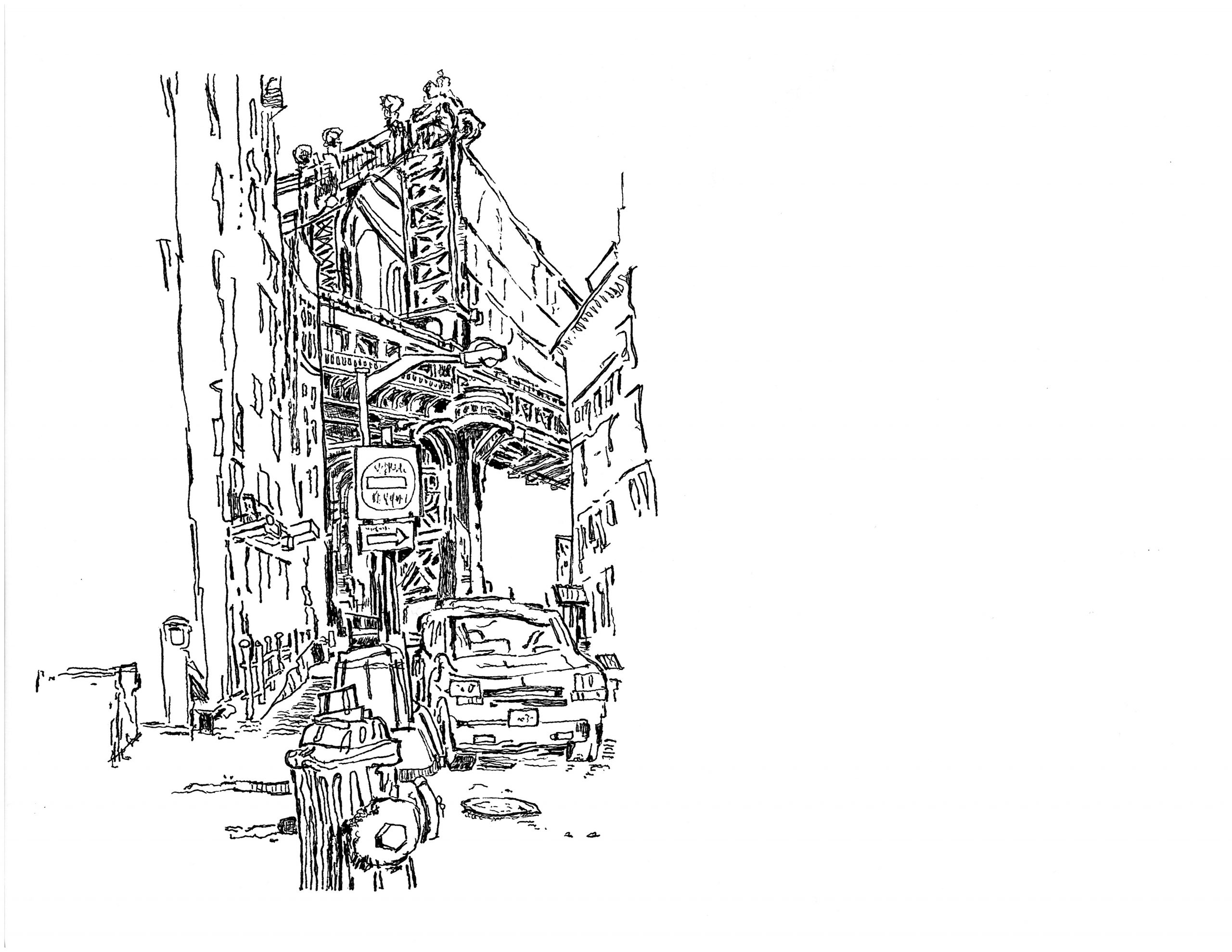 Drawing the Manhattan Bridge from Dumbo | 01.22.2021 a