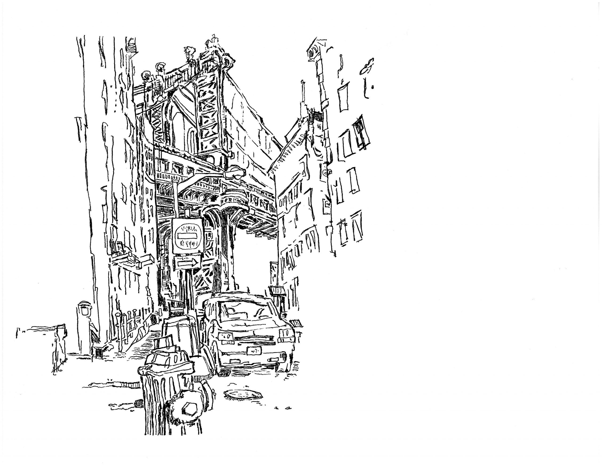 Drawing the Manhattan Bridge from Dumbo | 01.22.2021 b