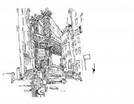 Drawing the Manhattan Bridge from Dumbo | 01.24.2021