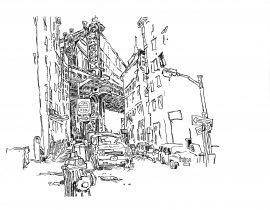 Drawing the Manhattan Bridge from Dumbo | 01.25.2021