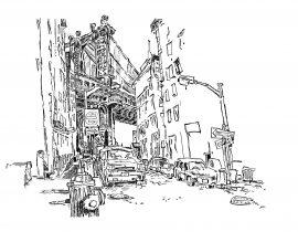 Drawing the Manhattan Bridge from Dumbo | 01.28.2021