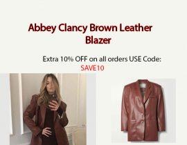 Abbey Clancy Brown Leather Blazer
