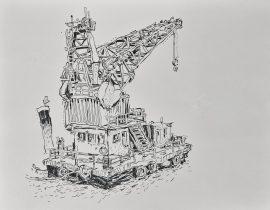 loading crane, Red Hook, Brooklyn / draft study